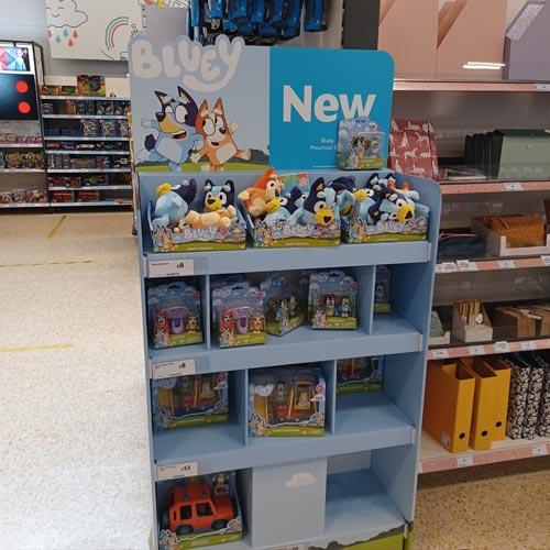 A Bluey FSDU was spotted in the toy aisle at Sainsbury's giving it good visibility.