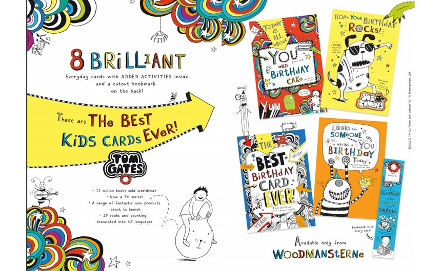 The Brilliant World of Tom Gates greeting card range will be launched by Woodmansterne at PG Live.