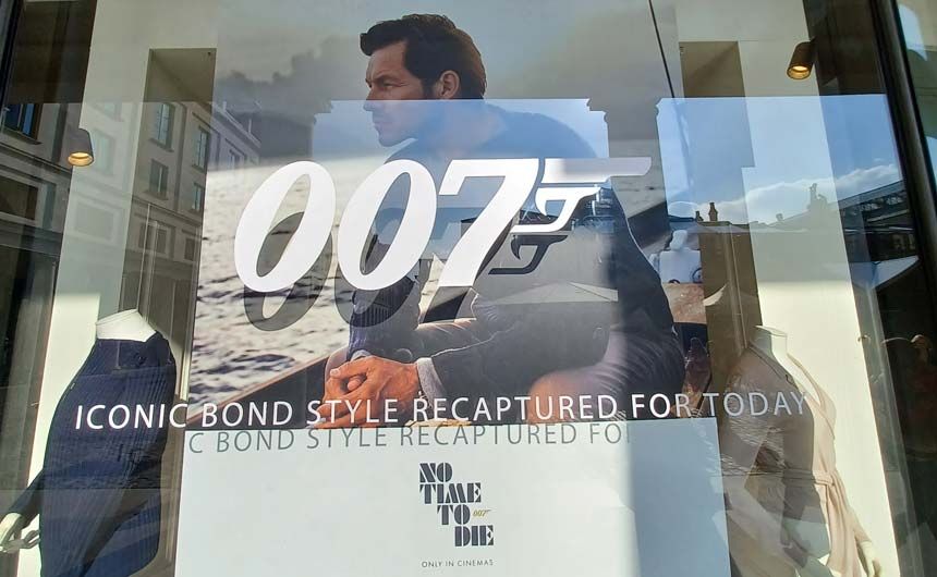 N. Peal's window display is a visual statement of its James Bond partnership.