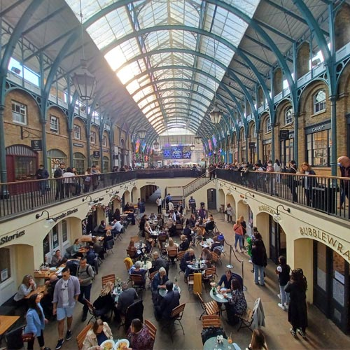 The Covent Garden Piazza originally housed a flower market.